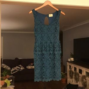 Urban Outfitters Teal Lace Key Hole Back Dress